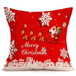 Linen Seat Cushion Merry Christmas Pillow Cover - RED