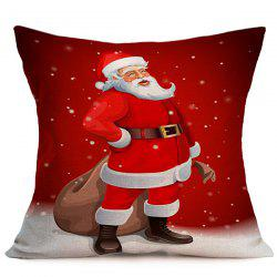 Christmas Santa Claus Sofa Cushion Linen Throw Pillow Cover - RED