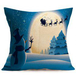 Linen Cushion Home Decor Christmas Pillow Cover - BLUE