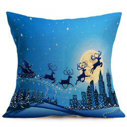 Merry Christmas Elk Pattern Cushion Pillow Cover - BLUE