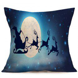 Merry Christmas Santa Elk Pattern Cushion Pillow Cover - DEEP BLUE