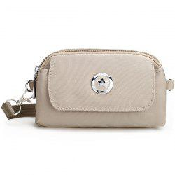 Metal Double Zipper Nylon Clutch Bag