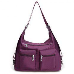 Pocket Zippers Nylon Double Shoulder Bag - DEEP PURPLE