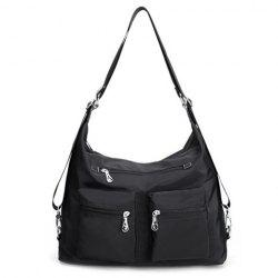 Pocket Zippers Nylon Double Shoulder Bag - BLACK