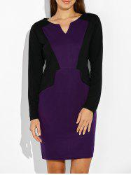 Slimming Color Block Long Sleeve Sheath Dress