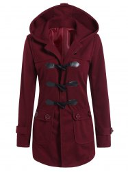 Hooded Flap Pockets Duffle Coat - WINE RED XL