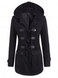 Hooded Flap Pockets Duffle Coat - BLACK