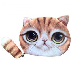 Forme Couleur Splicing Cat Purse Zipper Coin - Jaune