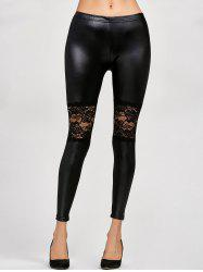 Lace Panel Leather Leggings
