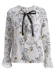 Pussy Bow Flower Printed Ruffled Blouse - WHITE 5XL