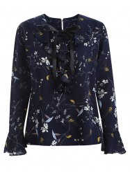Plus Size Pussy Bow Blossom Print  Blouse