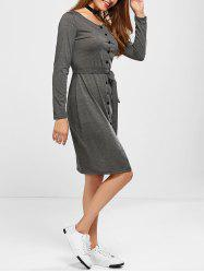 Long Sleeve Button Up Belted Jumper Dress