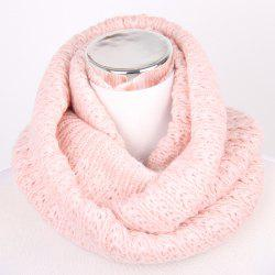 Winter Twisted Turtleneck Knitted Infinity Scarf - SHALLOW PINK