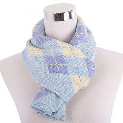 Warm Checked Knitted Scarf -