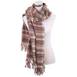 Winter Plaid Pattern Fringe Knitted Scarf -