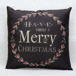 Merry Christmas Wreath Pillow Case - BLACK