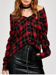 Retro Style Plaid Flannel Shirt - RED L