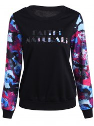 Abstract Color Mixed Letter Print Sweatshirt - BLACK 2XL
