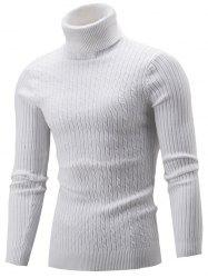 Slim Fit Cable Knit Turtleneck Sweater - WHITE 2XL