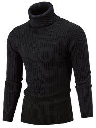 Slim Fit Cable Knit Turtleneck Sweater -