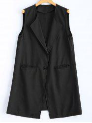 One Button Long Waistcoat - BLACK