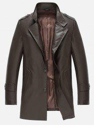 Single Breasted Epaulet Design PU Leather Coat