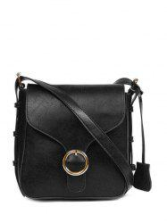 Cross Body Bag Buckle Vintage PU cuir - Noir