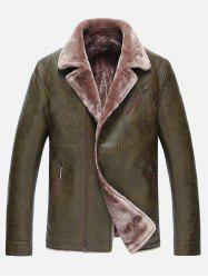 Fur Lapel Zip Up PU Leather Jacket