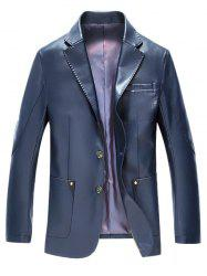 Lapel Button Up Pocket PU Leather Jacket -