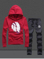 Native Printed Pullover Hoodie Twinset -