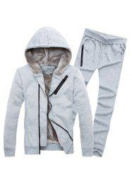 Zipper Embellished Color Block Hoodie Twinset -