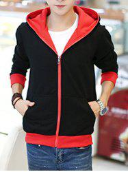 Sportive Color Block Zip Up Hoodie - RED