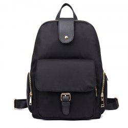 Side Zip Pockets Buckle Strap Nylon Backpack - BLACK