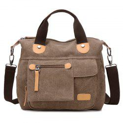 PU Leather Panel Canvas Handbag