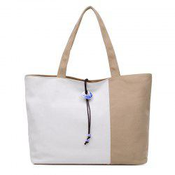 Pendant Canvas Color Block Shoulder Bag - LIGHT KHAKI