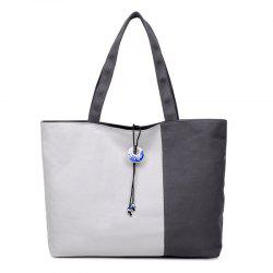 Pendant Canvas Color Block Shoulder Bag - GRAY