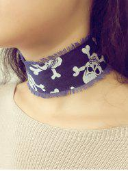 Vintage Crossbones Denim Fringe Choker Necklace - BLUE