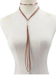 Faux Leather Rope Necklace -