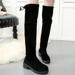 Low Heel Suede Over The Knee Boots