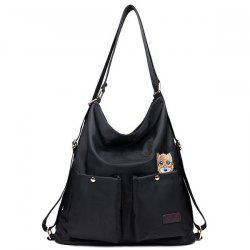 Nylon Cat Embroidered Shoulder Bag