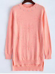 Beading High Low Hem Long Knitwear