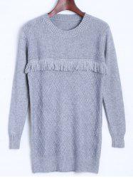 Diamond Pattern Tassel Longline Sweater