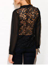 See Through Lace Back Spliced Blouse - BLACK XL