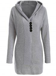 Knitted Hooded Buttoned Longline Sweater