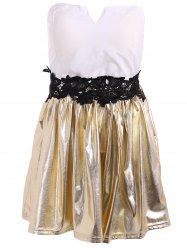 V Neck Strapless Short Prom Dress - GOLD AND WHITE XL