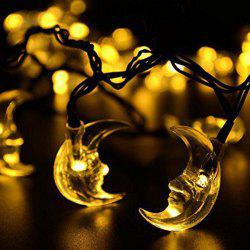 Christmas Decoration Supplies 4.8M Solar Power Moon LED String Light - WARM WHITE LIGHT