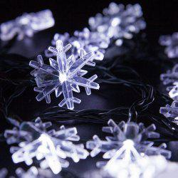 Christmas Supplies Snowflake 4.8M Solar Power LED String Light Decoration - WHITE