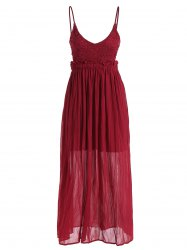 Spaghetti Strap Plunge Neck Maxi Chiffon Dress