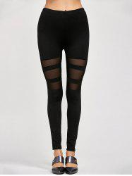 Mesh Insert Stretchy Leggings - BLACK