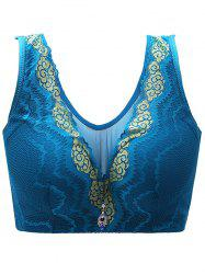 Plus Size U Neck Padded Full Cup Bra - BLUE
